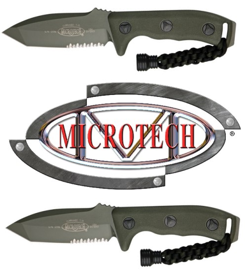 Micro Tech Knives 1032GR Microtech Currahee T/E Green with OD Green Handles