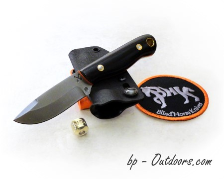 Blind Horse Knives: T2 Underground Version Black Micarta Orange Liners