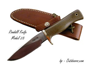 Randall Knife Model 28 Woodsman - brass hilt and green Micarta - photos and resources for military, tactical, sporting, outdoorsman and collector knives.