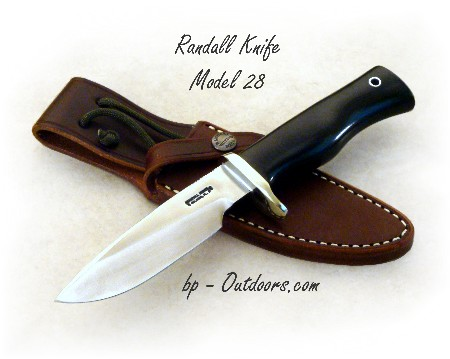 Randall Knife Model 28 Woodsman - nickel silver hilt and black Micarta - photos and resources for military, tactical, sporting, outdoorsman and collector knives.