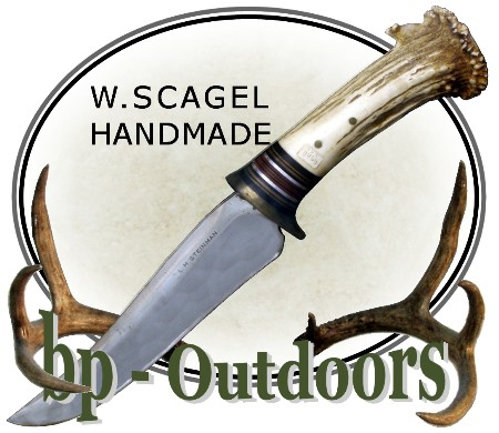 William Scagel Knives - Hunter - Leather and Crown Stag Handle